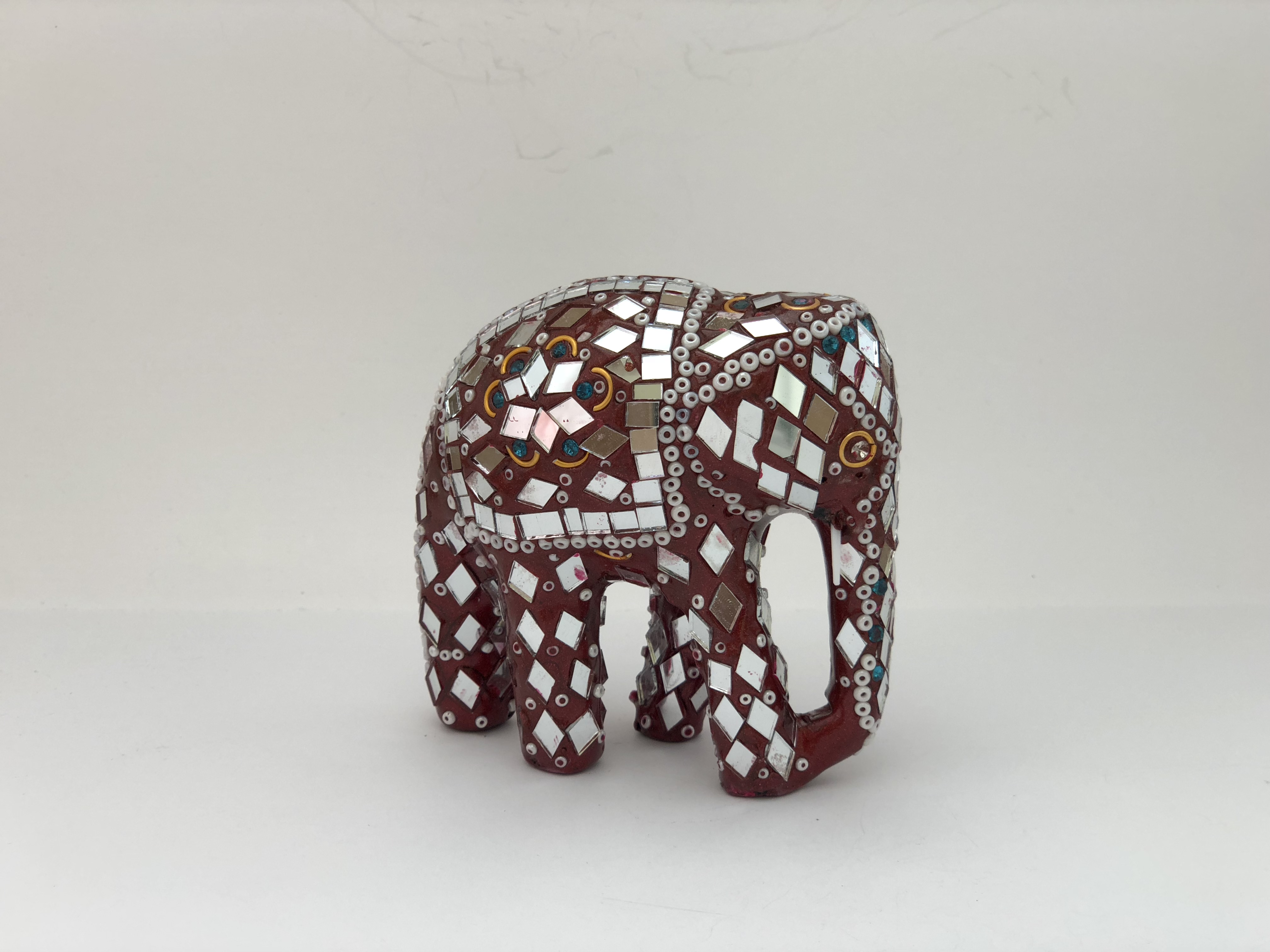 """4"""" Elephant in Red Mirrors and White Beads 