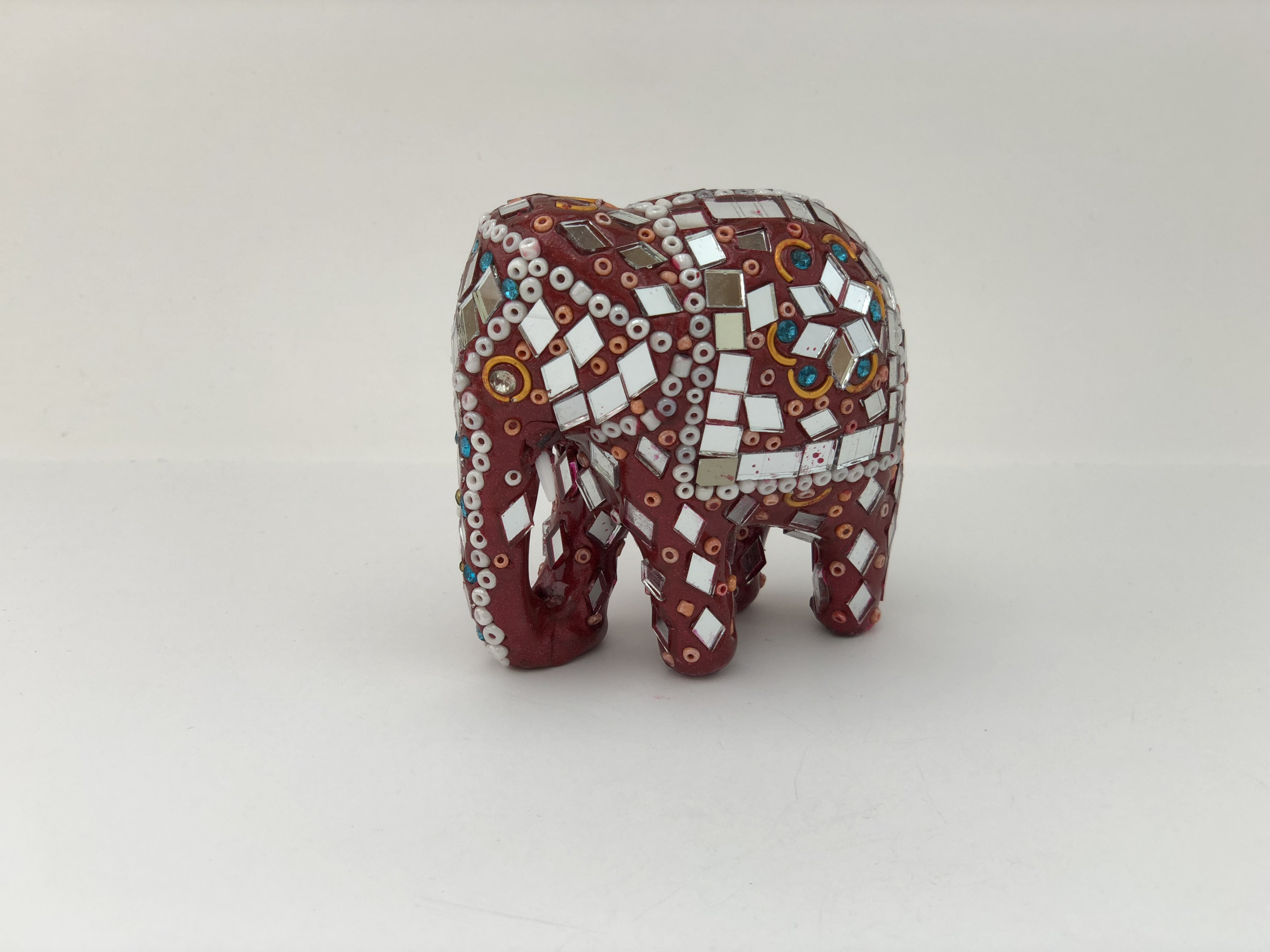 "3"" Elephant in Red Stones and White Beads 