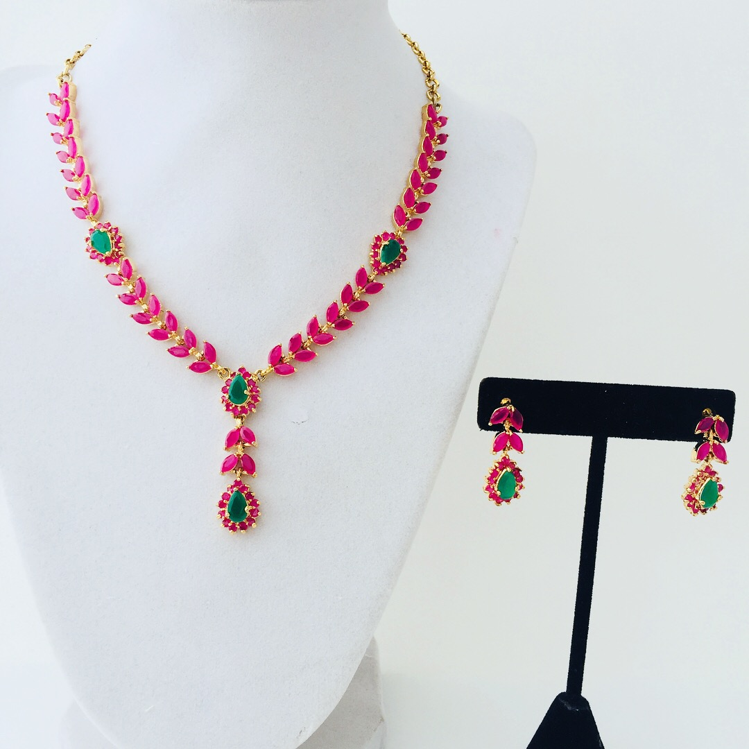 86e7a5e03f Dazzling ruby necklace set with matching earrings. Wear and sparkle…