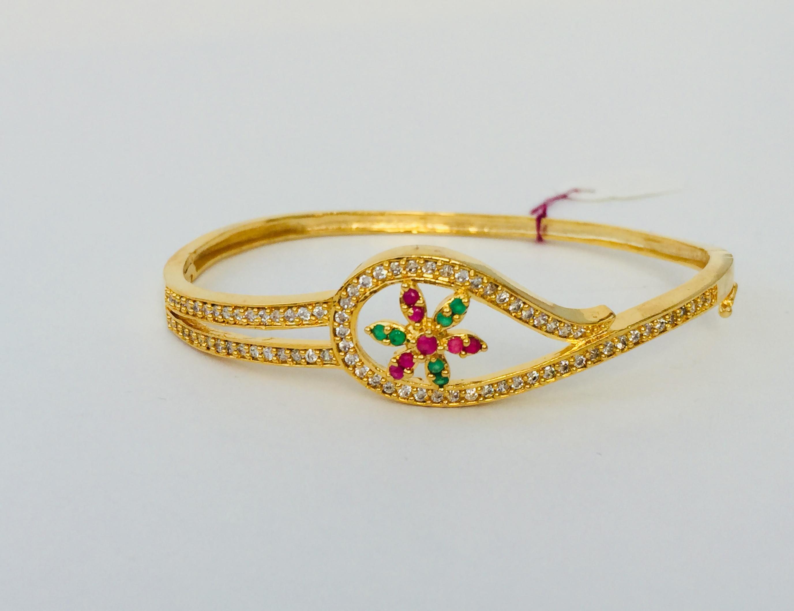 8c694114e42 Floral White Stones Gold Bangle Bracelet | Jewelberry Shack