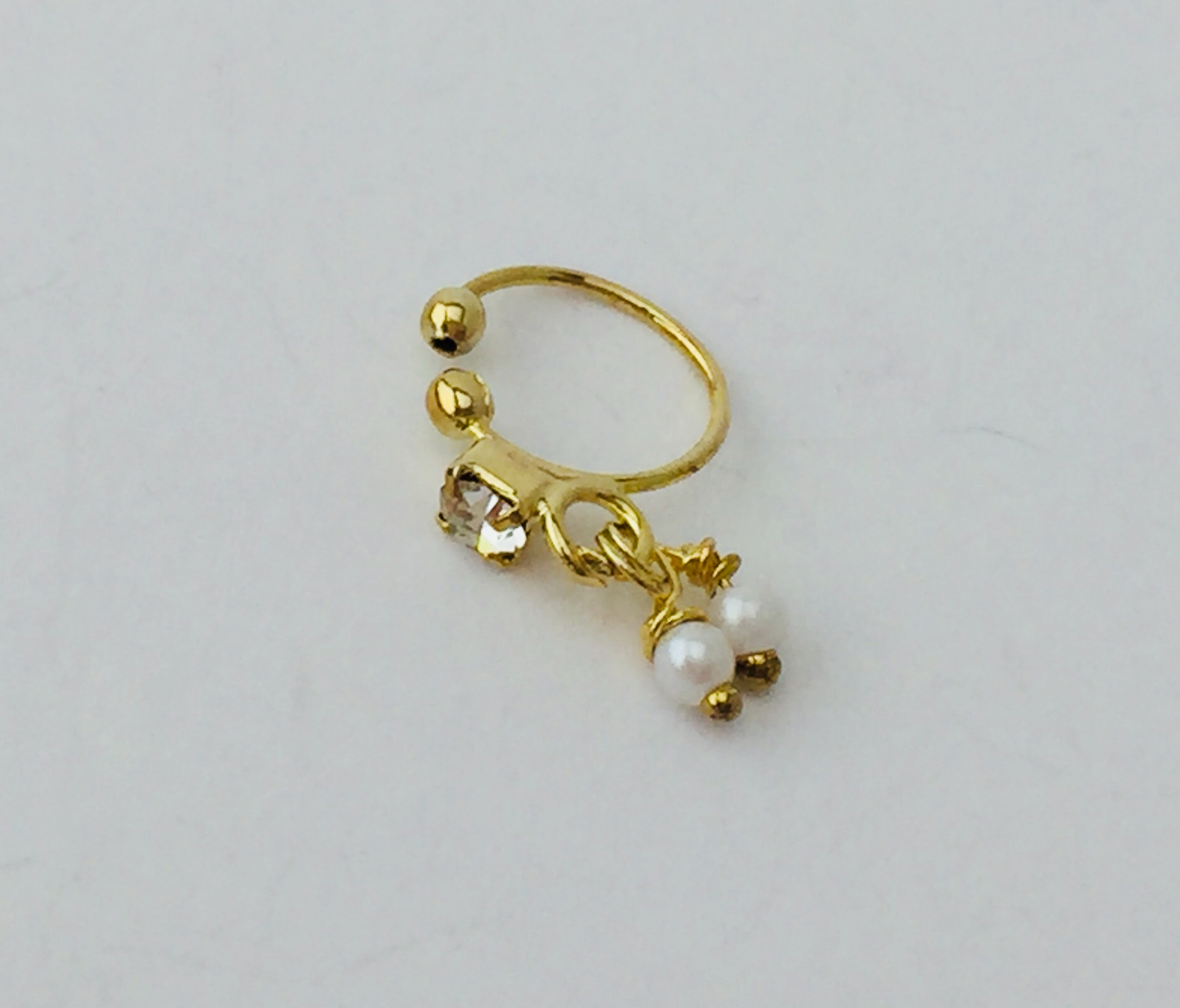Gold Nose Ring In White Stone And Dangling Pearls